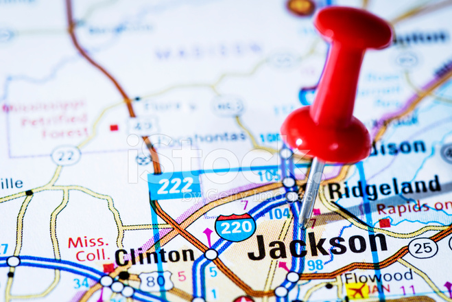 US Capital Cities on Map Series Jackson Mississippi MS Stock