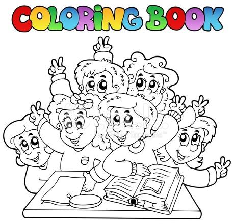 Dibujos Animados Para Colorear Libro Escolar 3 Stock Vector