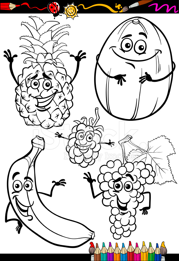 Frutas DE Dibujos Animados Para Colorear Libro Stock Vector ...