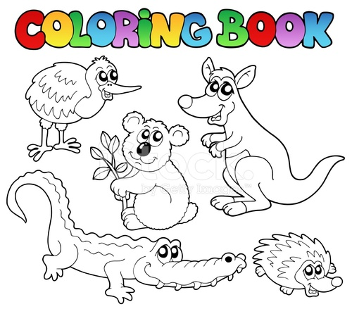Boyama Kitabı Avustralya Hayvanlar 1 Stock Vector Freeimagescom