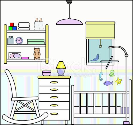Dormitorio O Cuarto DE Bebé Con Cuna Muebles Y Accesorios Stock ...