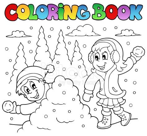 Boyama Kitabı Kış Teması 2 Stock Vector Freeimagescom