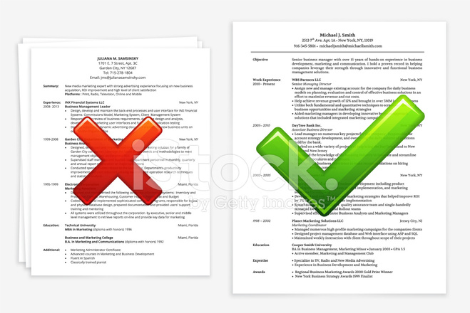 job search with good and bad resume stock vector