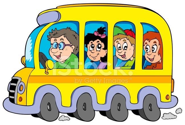 Autobus Scolaire Dessin Animé Avec Des Enfants Stock Vector