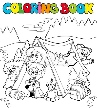 Libro Para Colorear Con Los Niños Camping Stock Vector - FreeImages.com