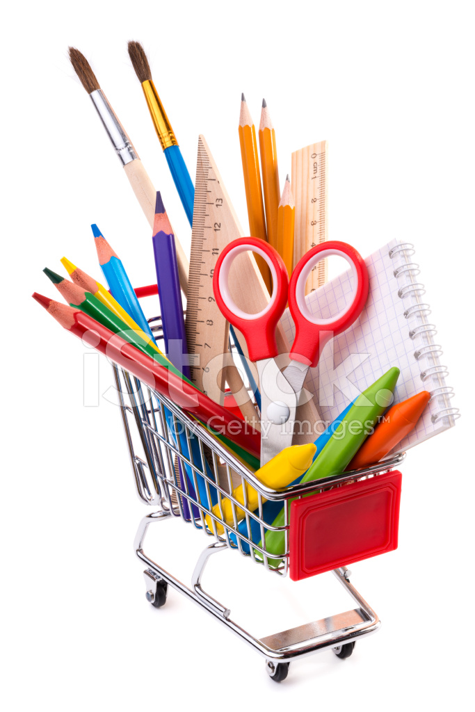 office drawing tools. premium stock photo of school or office supplies, drawing tools in a shopping cart o