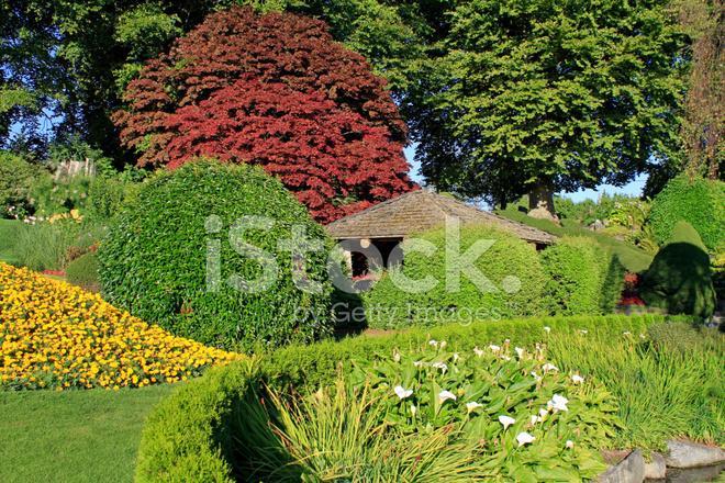 Geweldige tuin lay out in openbaar park british columbia canada