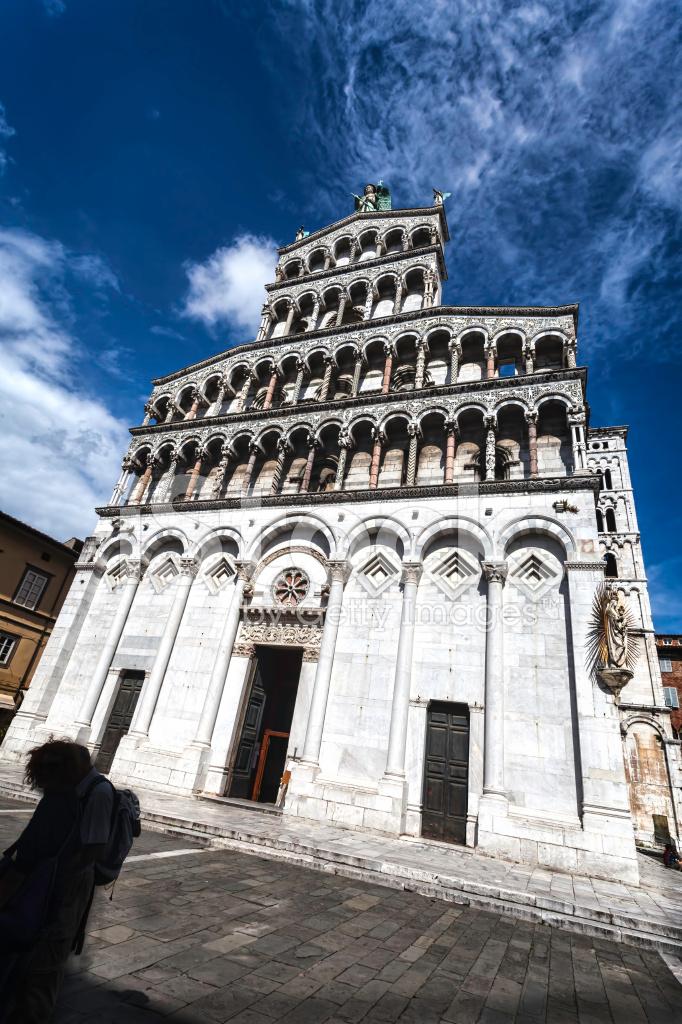 Kathedraal Van Lucca.Lucca Italie De Kathedraal Van Saint Michele Stockfoto S