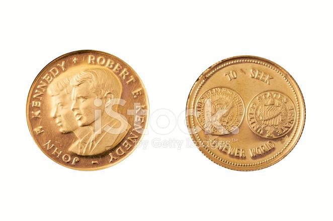 Gold Münze Kennedy Brüder Stockfotos Freeimagescom