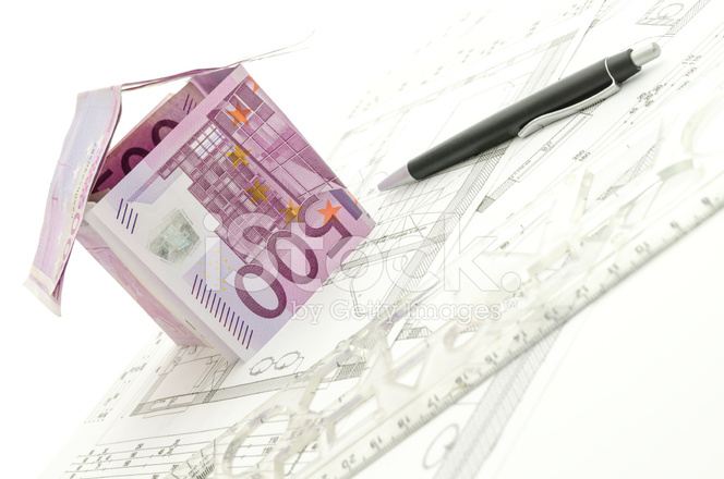 House made of 500 euro money on blueprint stock photos freeimages house made of 500 euro money on blueprint malvernweather Image collections