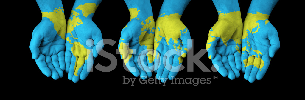 World map painted on hands stock photos freeimages world map painted on hands gumiabroncs Image collections