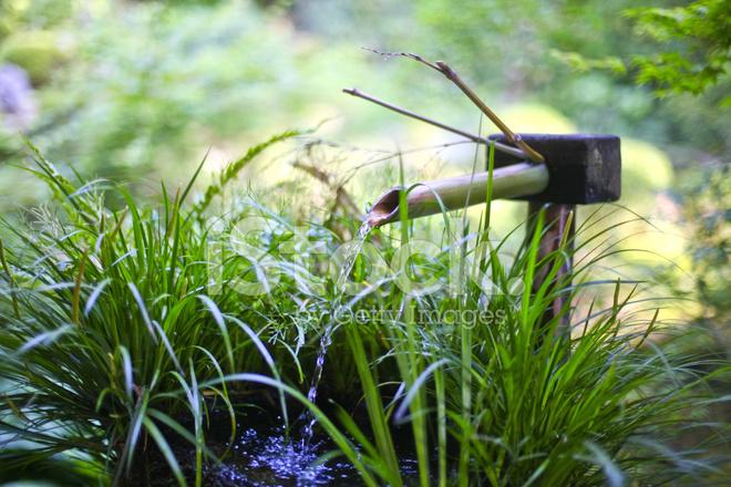 Japanischer Stil Garten Bambus Brunnen Japan Stockfotos