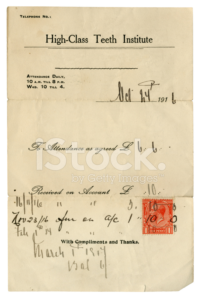 Old British Dentist S Bill And Receipt 1916 Stock Photos Freeimages Com