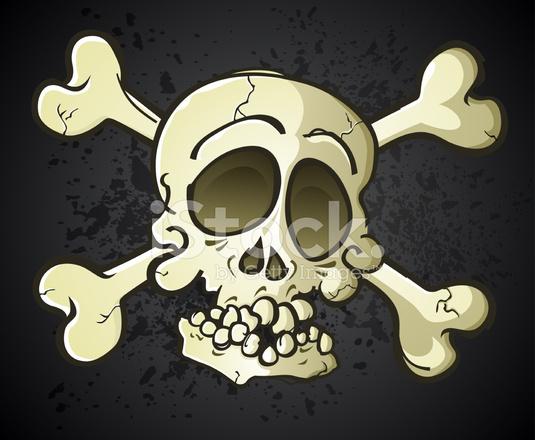 Teschio e ossa incrociate jolly roger cartone animato stock vector