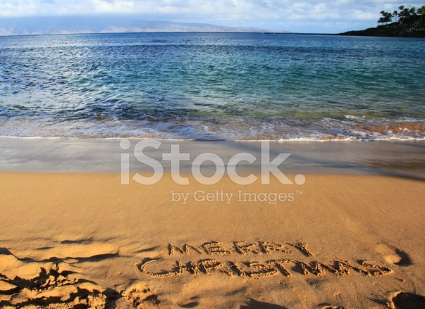merry christmas written on maui hawaii resort hotel beach sand - Merry Christmas In Hawaii