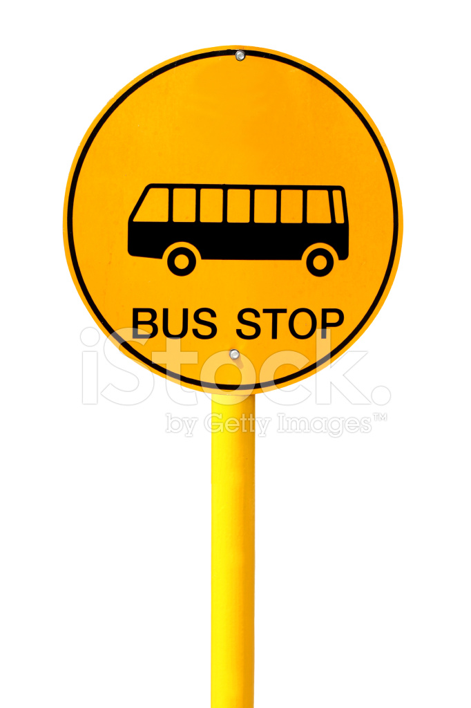 Bus Stop Sign on White Background Stock Photos ...