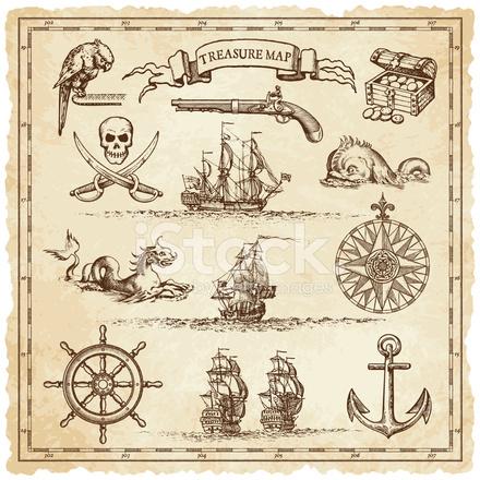Elementi Di Illustrazione Mappa Pirata Vintage