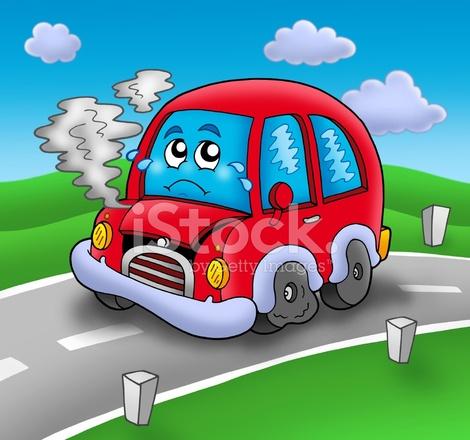 carro de desenho animado quebrado na estrada fotos do acervo