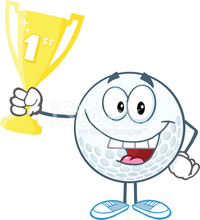 Happy Golf Ball Holding First Prize Trophy Cup Stock