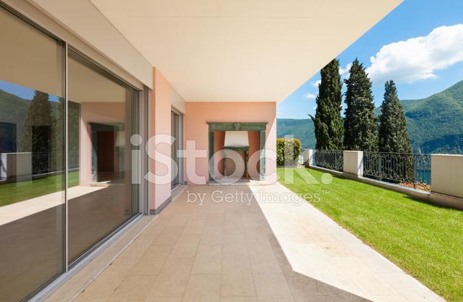 Apartment veranda with fireplace stock photos for Proiettato in veranda con camino