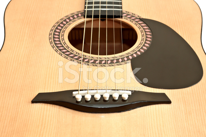 Picture Of Acoustic Guitar Isolated On The White Background Stock