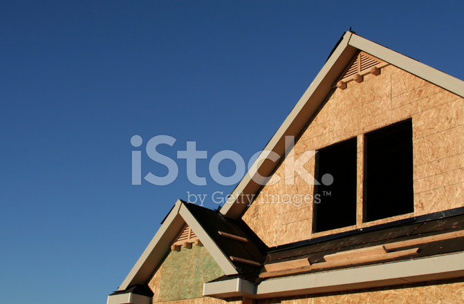 Roof Line Of Home Under Construction Stock Photos