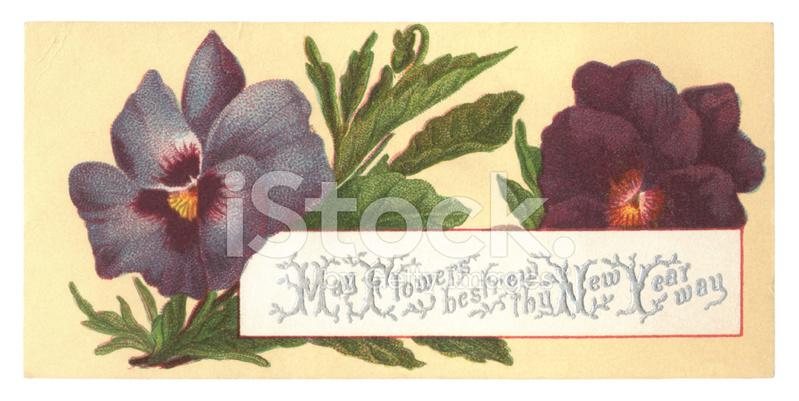 premium stock photo of victorian new year card with pansies 1877