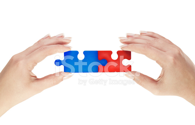 red and blue connecting puzzle pieces stock photos freeimages com