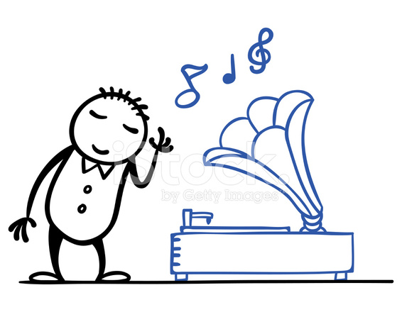Homem Dos Desenhos Animados Com Sua Caixa De Musica Stock Vector