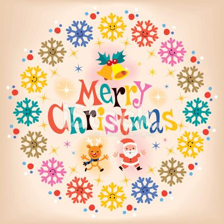 Frohe Weihnachten Retro Grußkarte Stock Vector - FreeImages.com