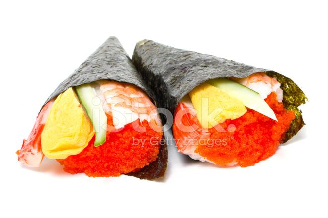 Hand Rolled Temaki Sushi Traditional Japanese Cuisine