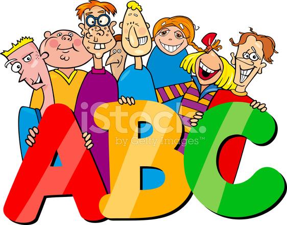 Niños Con Dibujos Animados Letras Abc Stock Vector Freeimagescom