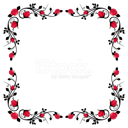Vintage Calligraphic Frame With Red Vector Stock Photos
