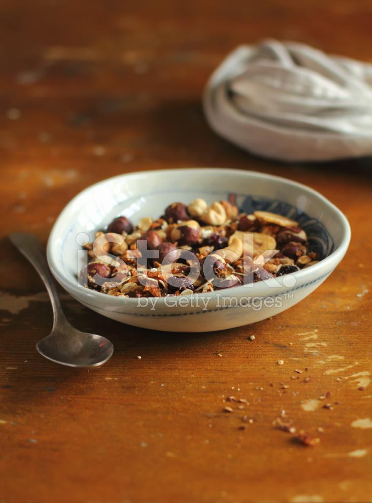 Organic homemade granola or muesli bowl