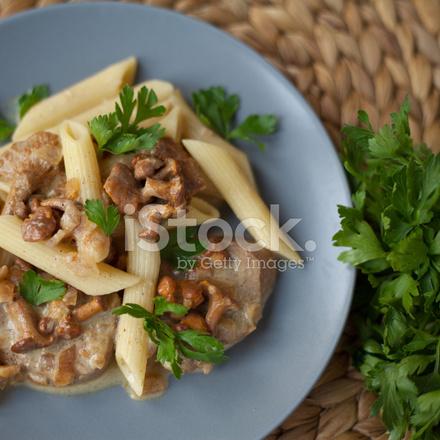Penne Pasta Creamy Chanterelle Mushrooms Sauce Pork ...