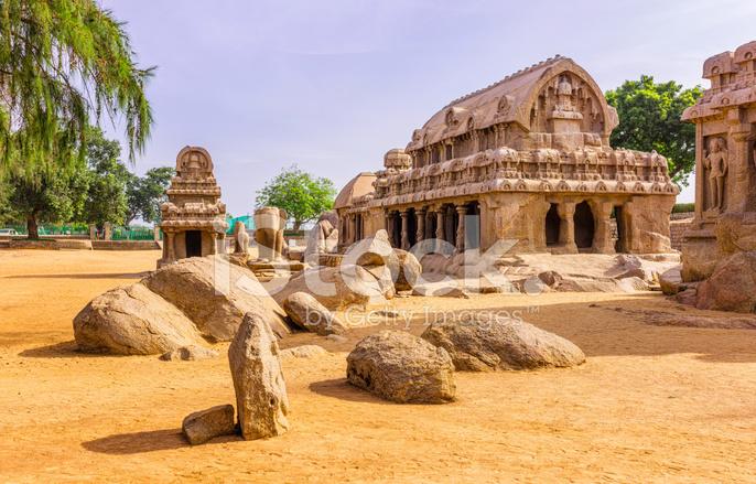 Five rathas monolithic stone carving mamallapuram tamil