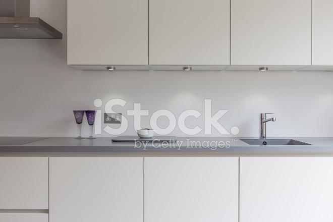 Kitchen Hob Cartoon ~ Gray white kitchen with sink hob glasses stock photos