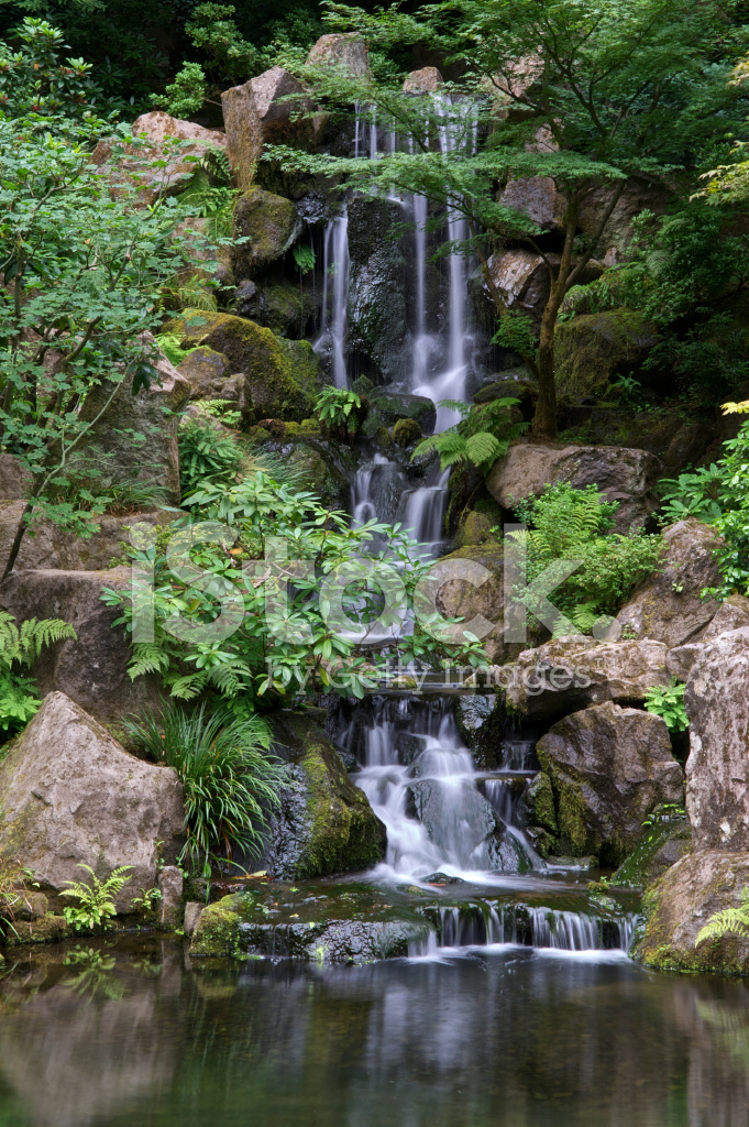 Waterfall pond boulders trees bushes portland japanese for Garden pond design software free download