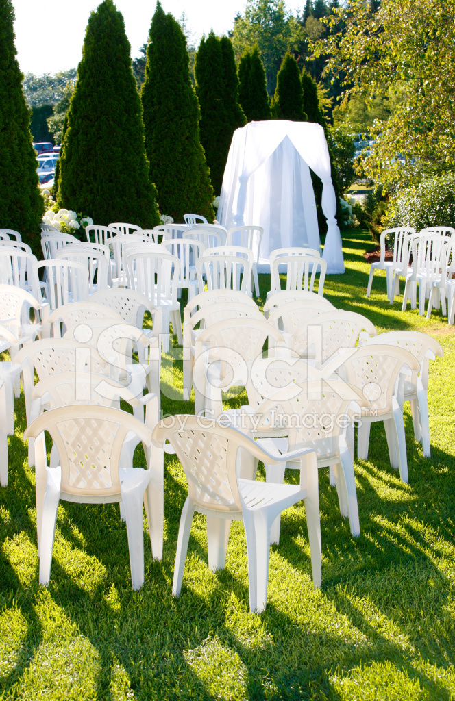 Outdoor Wedding Setup With Chairs And Stock Photos