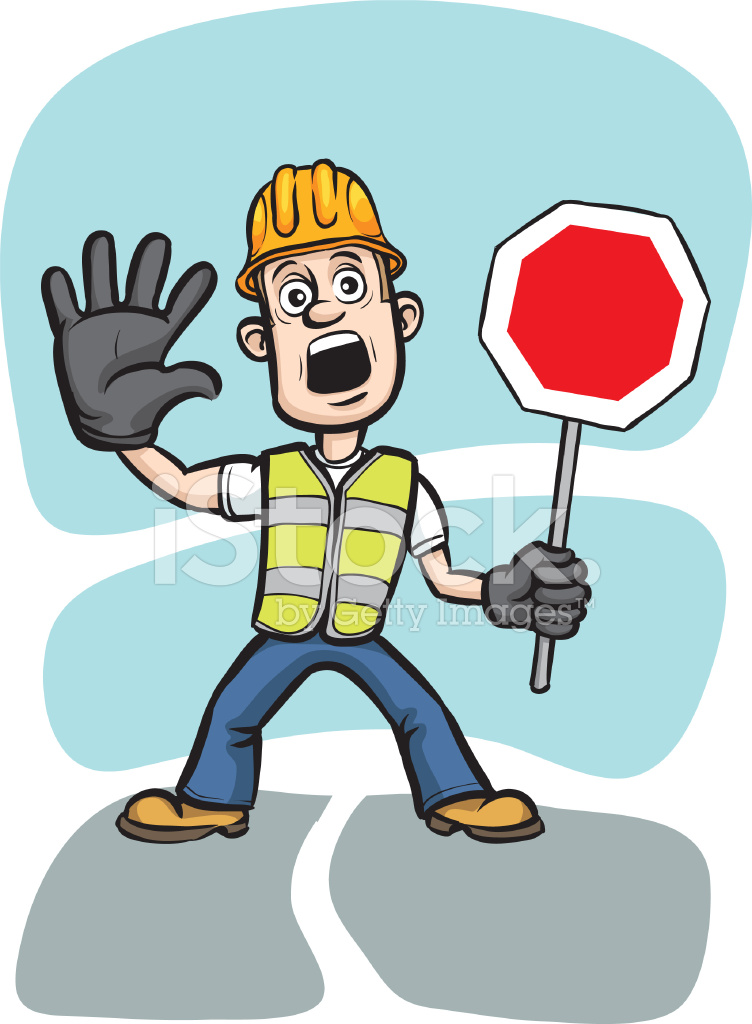 cartoon worker warning with stop sign stock vector earth day clip art free earth day clip art words