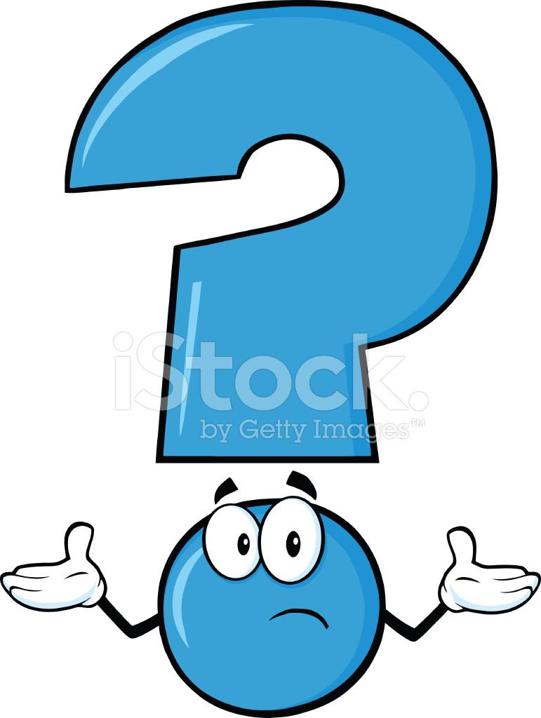 Mavi Soru Işareti Karakteri şaşkın Bir Ifade Ile Stock Vector