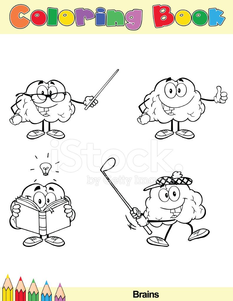 Personaje DE Dibujos Animados DE Cerebro DE Libro Para Colorear 6 ...