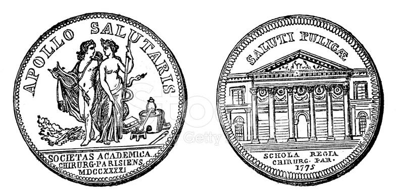Antique Illustration of University Old Coin Medal (1600s