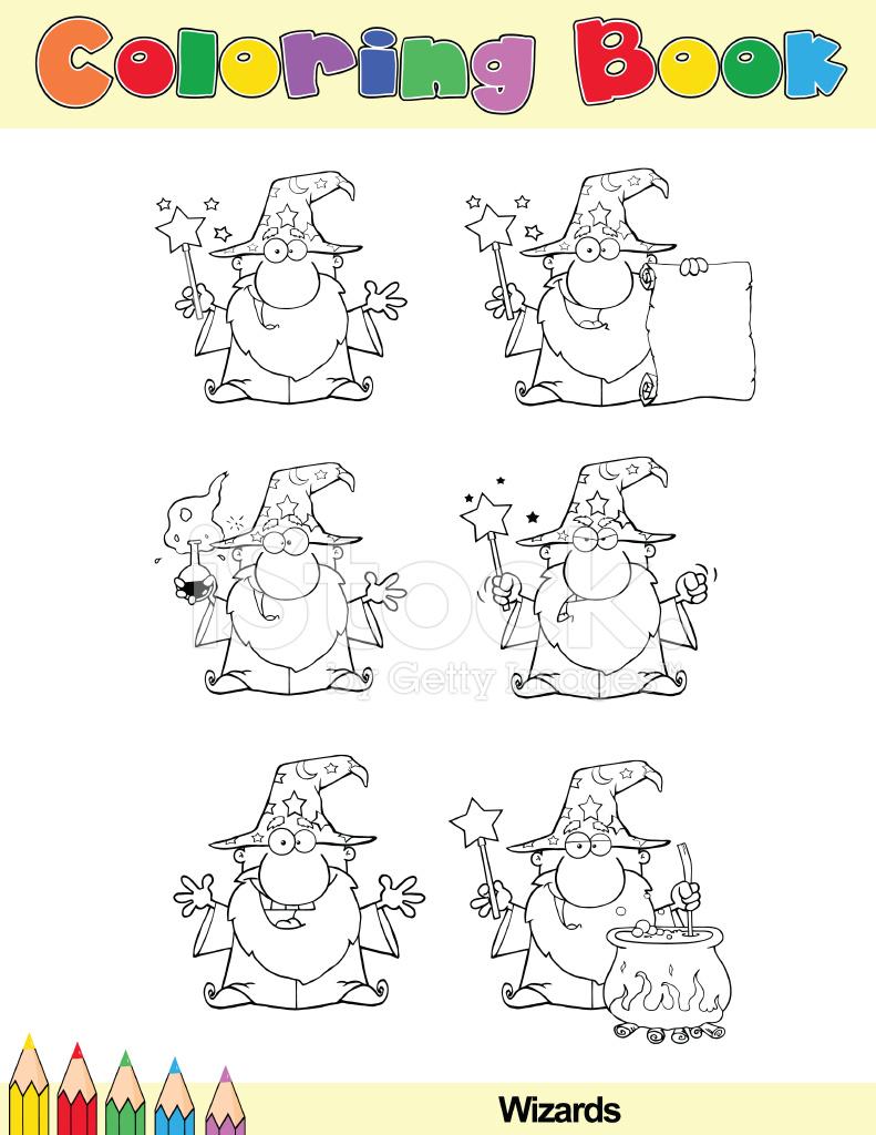 Boyama Kitabı Sihirbazı çizgi Film Karakterleri Stock Vector