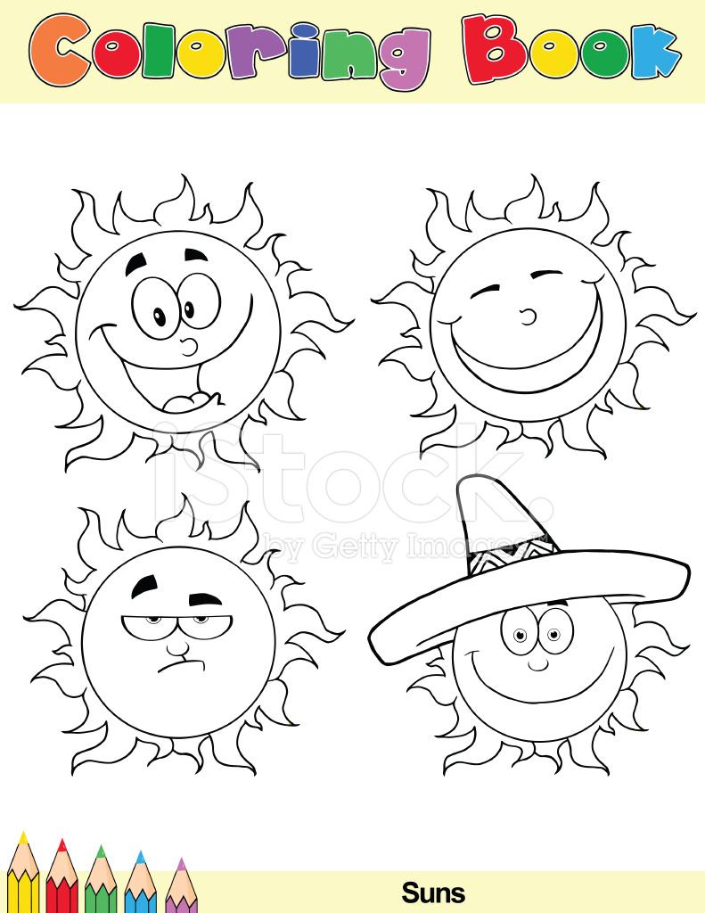 2 Boyama Kitabı Güneş çizgi Film Karakterleri Stock Vector