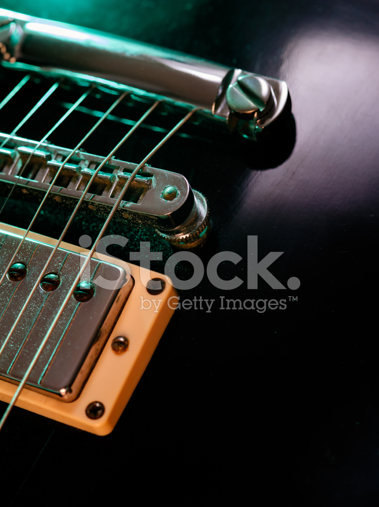 electric guitar strings and bridge closeup stock photos. Black Bedroom Furniture Sets. Home Design Ideas