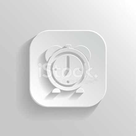 Alarm Clock Icon Vector White App Button Stock Vector