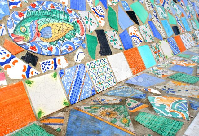 Colorato mosaico di piastrelle con pesce fotografie stock