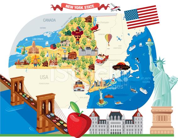 Taxi Albany Ny >> Cartoon Map of New York Stock Vector - FreeImages.com