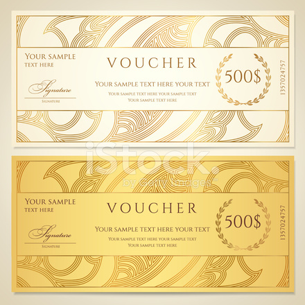 gold voucher gift certificate coupon ticket template with flo